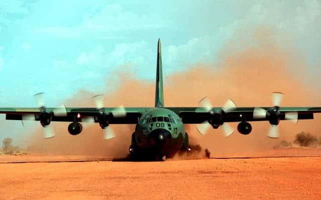 Lockheed Martin C-130J Super Hercules in the dust