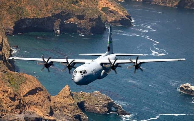Lockheed Martin C-130J Super Hercules in the sky