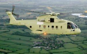 green Agusta Westland AW101 VIP flying