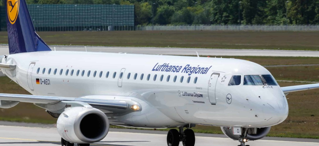 Embraer 190 Lufthansa Reginal at Frankfurt AIrport Germany