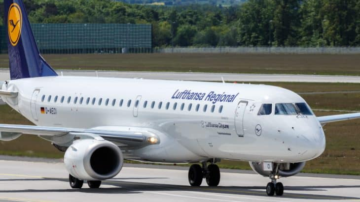 Embraer 190 Lufthansa Reginal at Frankfurt AIrport Germany