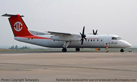 Bombardier Q300 parked