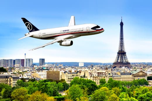 sukhoi superjet paris france eiffel tower