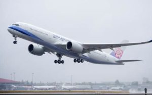 First China Airlines Airbus A350 XWB Takes Flight