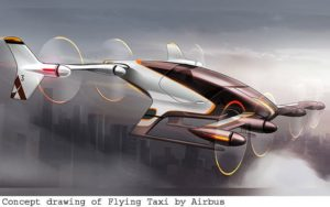 Airbus release sketches of its Flying Taxi