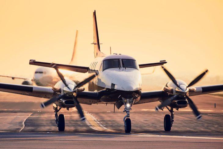 propeller plane on runway