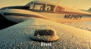 frost on aircraft wing