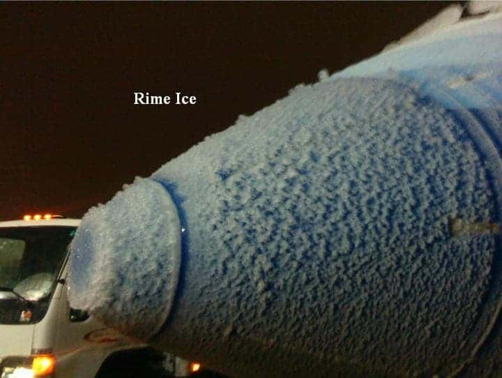 rime ice on aircraft