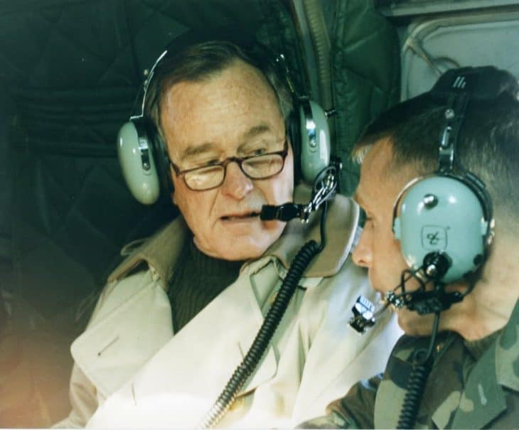 george h.w. bush wearing aviation headset