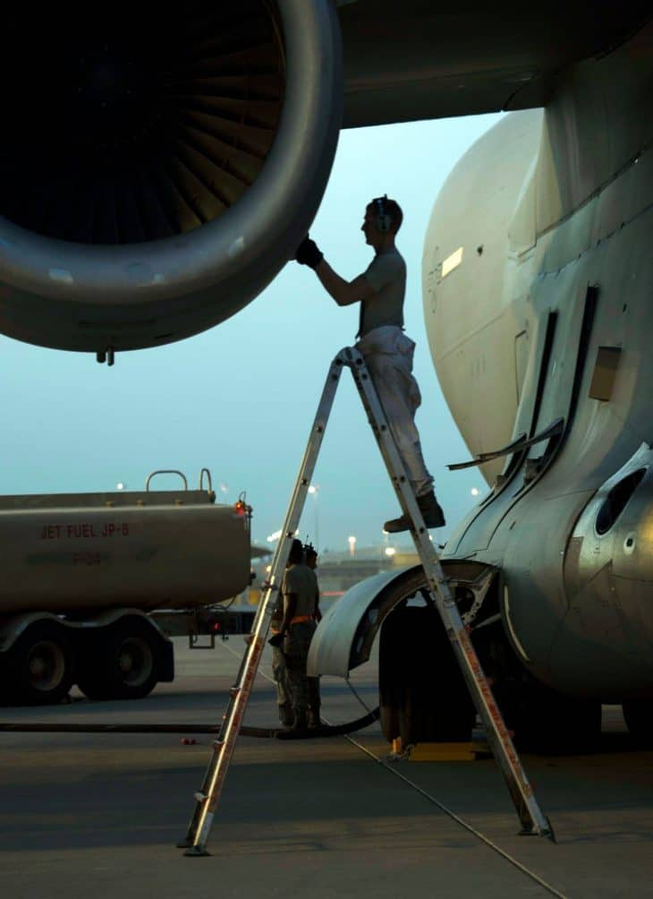 Aircraft Inspection on ladder