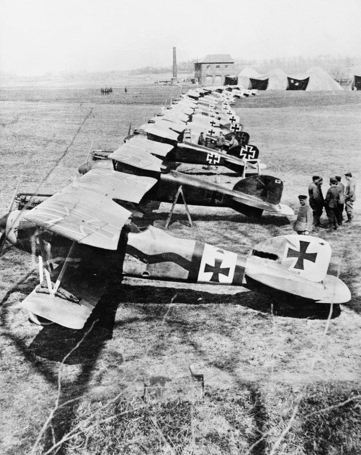 German Albatros D.IIIs of Jagdstaffel 11 and Jagdstaffel 4 parked in a line at La Brayelle near Douai, France