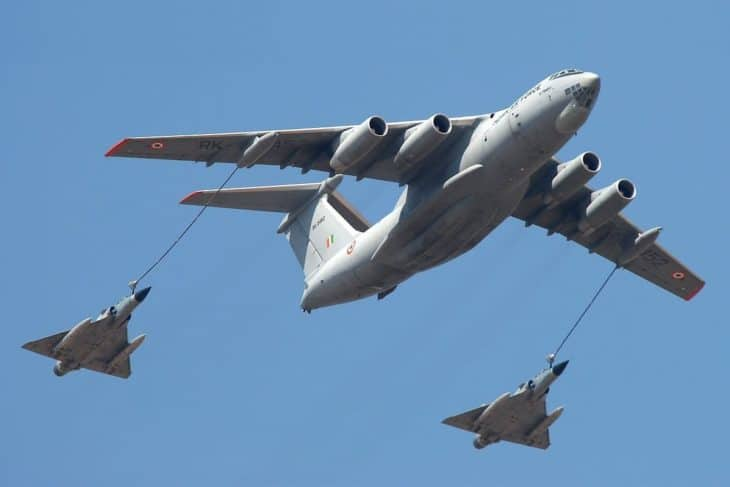 IAF's Ilyushin Il-78MKI provides mid-air refueling to two Mirage 2000 At the opening of Aero India 2007