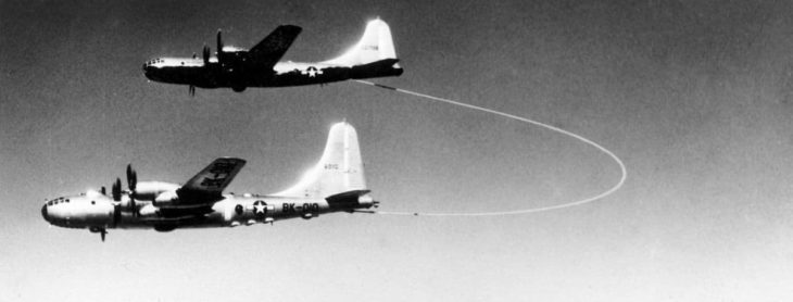 The US Airforce Boeing B-50 Superfortress, Lucky Lady II being refueled by grappled-line looped-hose during the first non-stop circumnavigation of the world by air in 1949