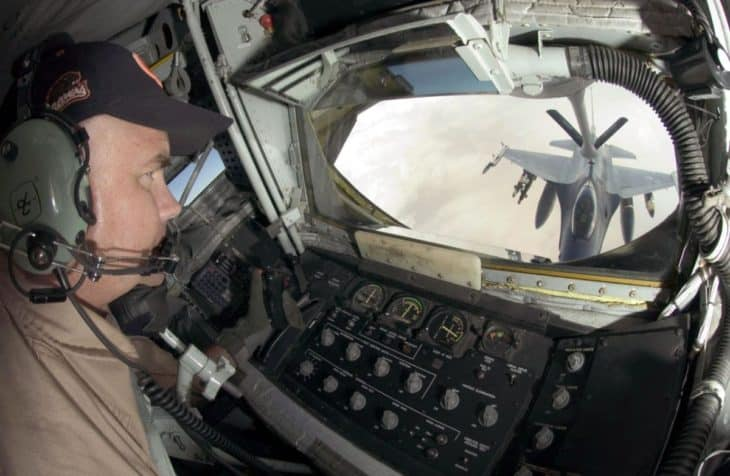 USAF KC-135 boom operator view from the boom pod while refueling F-16 Fighting Falcon