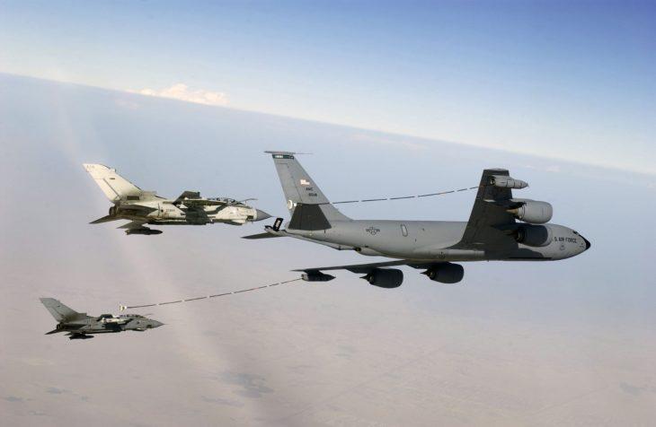 USAF KC-135 using Mk32B hose-drogue pods refueling a pair of British Tornado GR4s