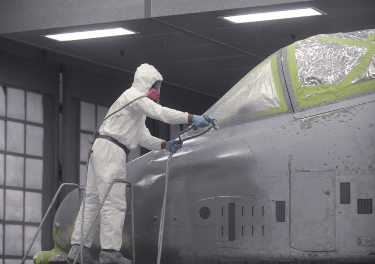 painting an A-10C Thunderbolt II at Moody Air Force Base,