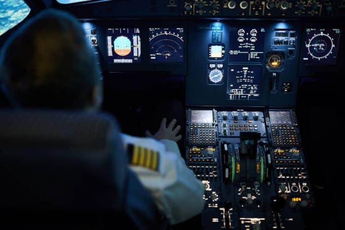 Dark cockpit night flight