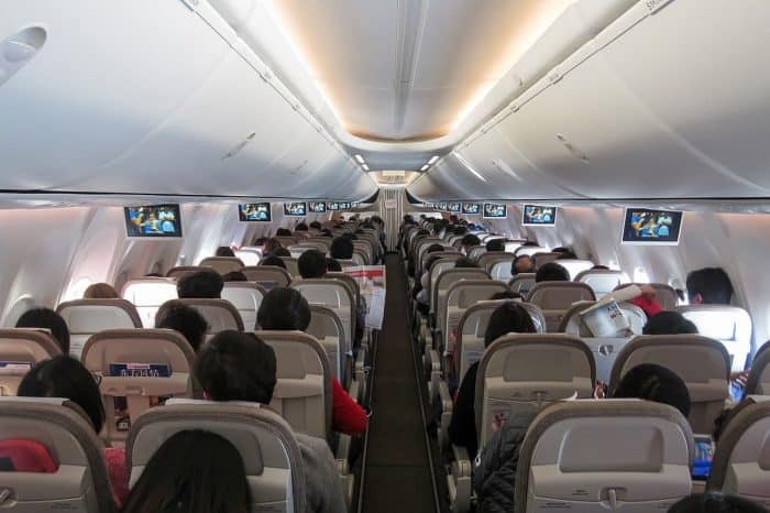 Economy class interior of Boeing 737 MAX 8