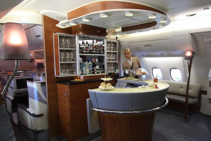 Emirates business class bar on the A380