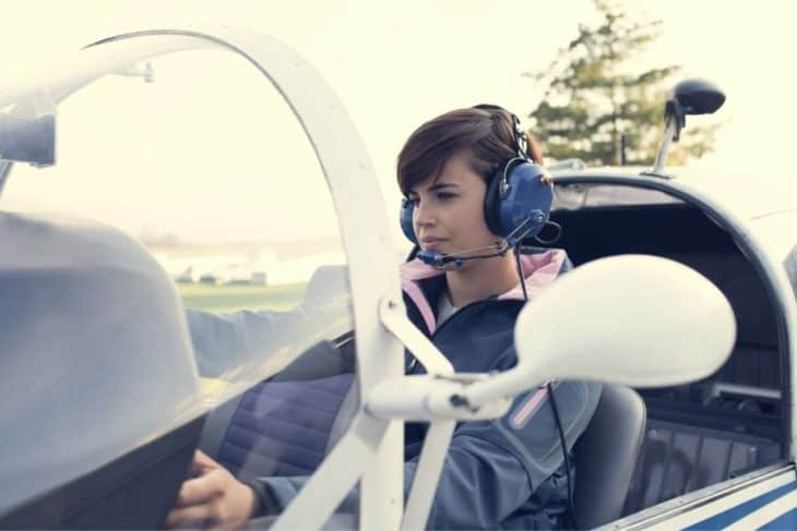 Student pilot in the aircraft cockpit