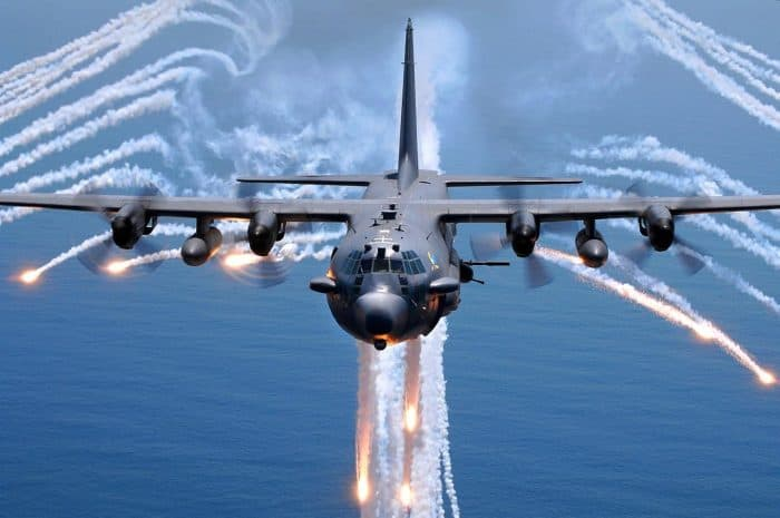 AC-130H gunship jettisons flares