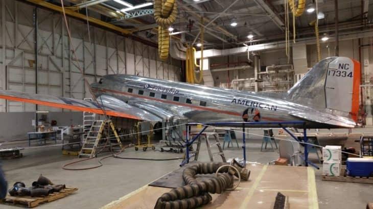 American Airlines Douglas DC-3 in hangar