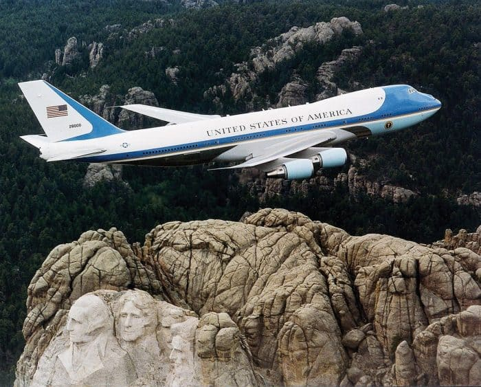 Boeing VC-25 Air Force One over Mt. Rushmore