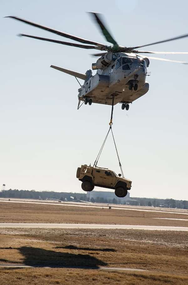 CH-53K King Stallion lifts a JLTV