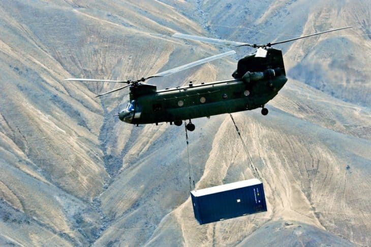 Chinook lifting shipping container