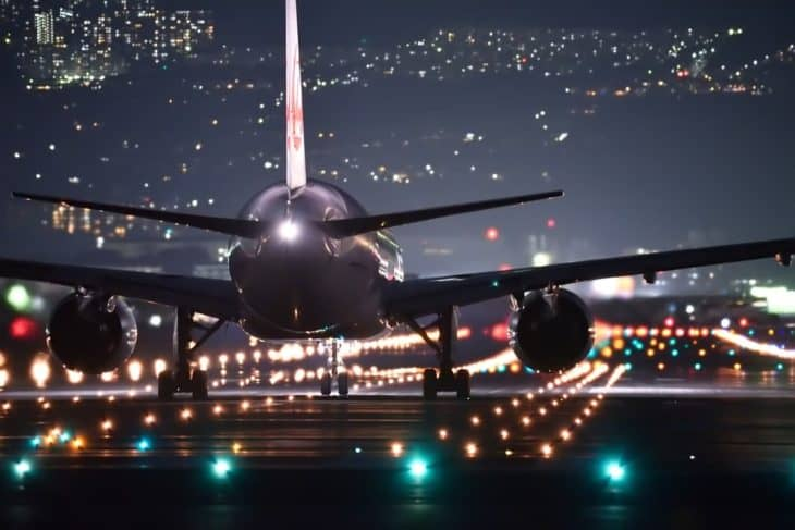 Night Flight Airport Lights