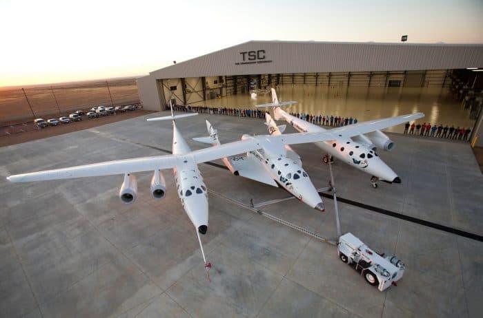 WhiteKnightTwo (VMS Eve) and SpaceShipTwo (VSS Enterprise)