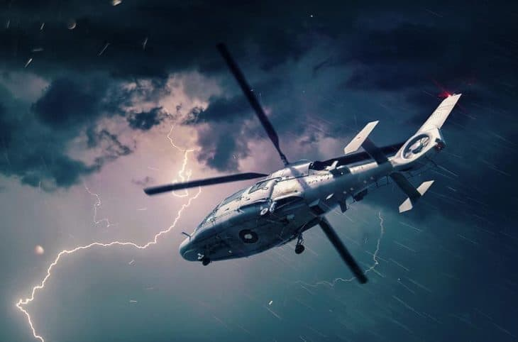 Bulgarian Navy Panther Helicopter in Thunderstorm