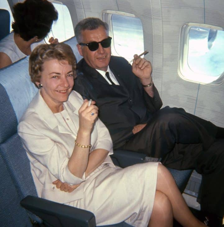 Couple Smoking on Airplane in 1965