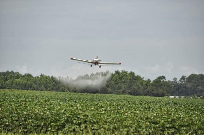 Crop Duster Flying over Crops