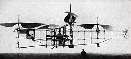 Étienne Oehmichen Helicopter No. 2, 1923-1924. On May 4 1924, it was the first helicopter to fly on the distance of one kilometer (0.6 mile)