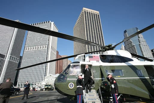 George W. Bush on Marine One at Downtown Manhattan Heliport