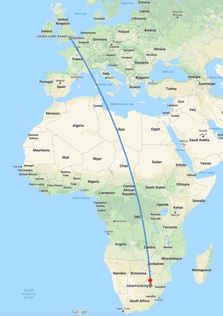 Google Maps - London to Johannesburg