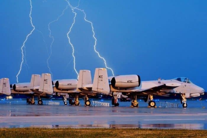 Lightning strike near A-10 Warthog