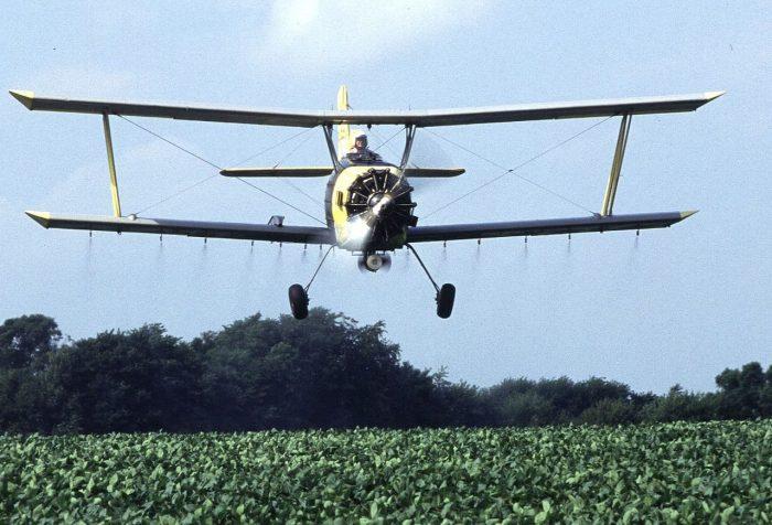 Crop duster near Sheldon, Illinois