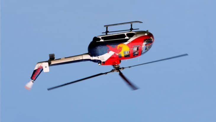 Red Bull Helicopter Flying Upside Down