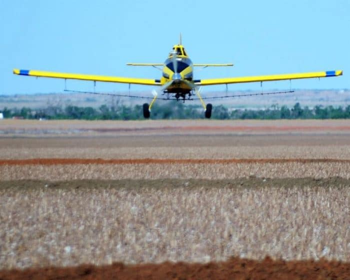 Solo crop duster plane frontal view