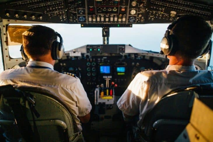 Two pilots in cockpit