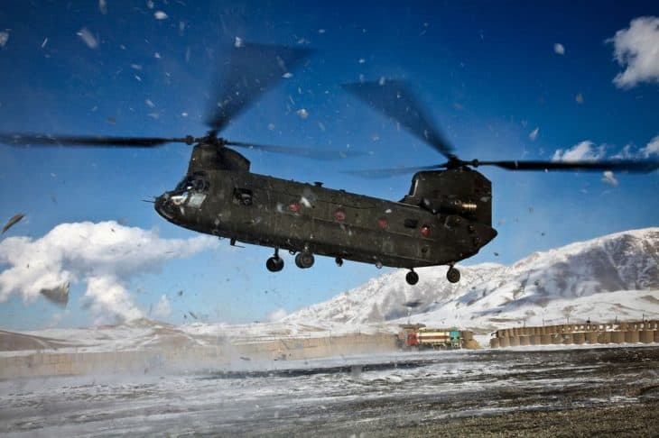 U.S. Army CH-47 Chinook helicopter prepares to land at Forward Operating Base Airborne, Afghanistan, after a two-day snow storm