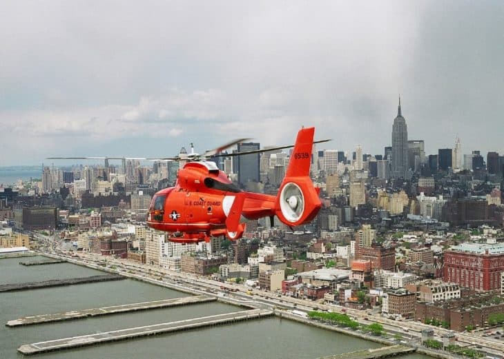 U.S. Coast Guard Flying over New York City