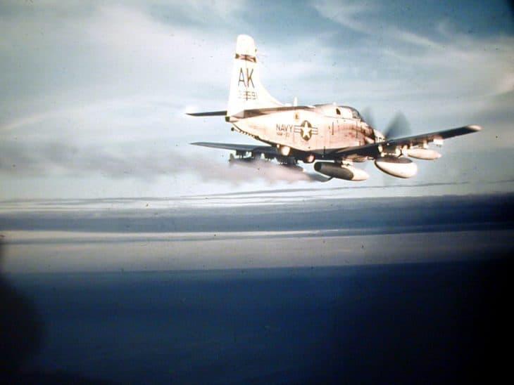 U.S. Navy Douglas EA-1F dumping fuel before landing