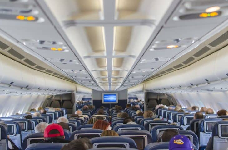 View of airplane cabin seats economy class