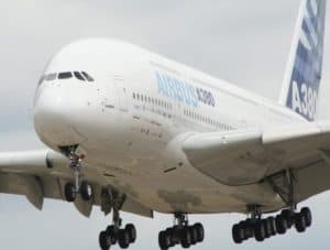 White Airbus A380