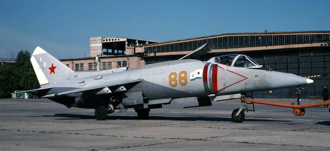 Yakovlev Yak 38M VTOL attack aircraft at MAKS 1993 airshow.