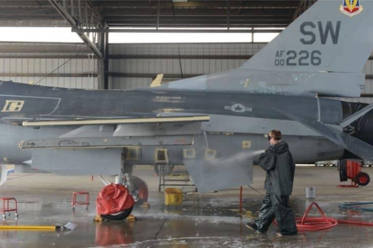 washing an F-16 Fighting Falcon