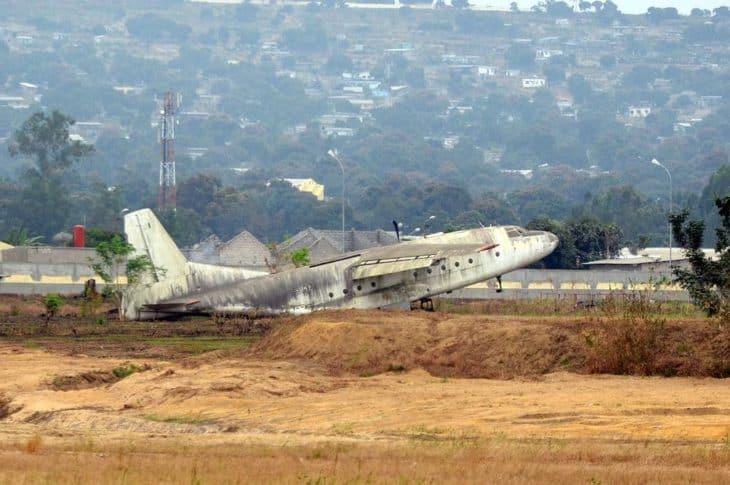 An abandoned Antonov An 8 S9 DAJ aeroplane at Maya Maya Airport in Brazzaville Republic of Congo